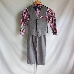 Nautica Big Boys Gray Checkered Pants Suit size 7